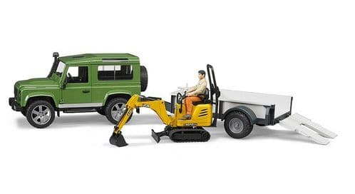 BRUDER Land Rovered Defender with Traile, Cat & Man