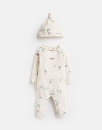 JOULES Official Peter Rabbit Collection Babygrow & Hat Set