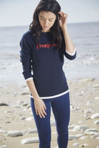 TOGGI Flavia Midnight Blue Slogan Cotton Jumper