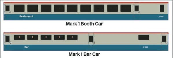Mark 1 Bar Car and Booth Car - OO Gauge