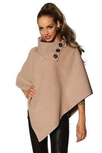 Beige Winter Poncho with Wide Collar (UK 8-12)
