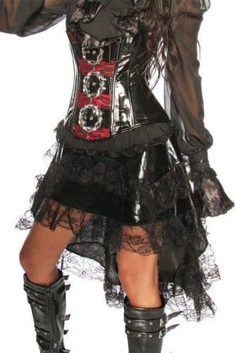 Black Flounce Steampunk Skirt with Lace (UK 6)