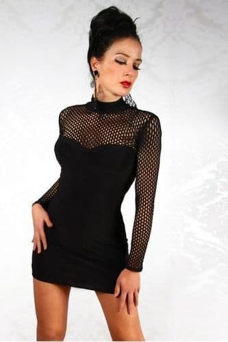 Black Mini Dress with Mesh Chest and Arms (UK 8)