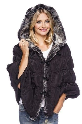 Black Quilted Poncho with Faux Fur Lining (UK 12)