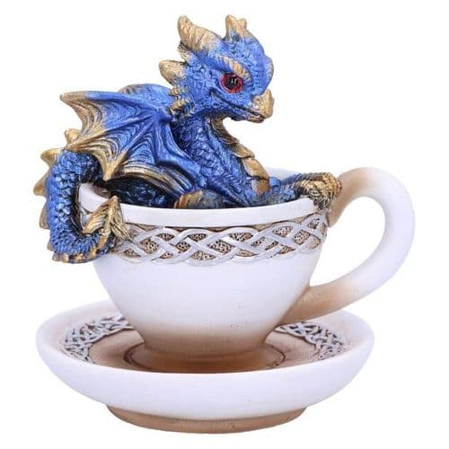 Blue Dracuccino Dragon Teacup Figurine