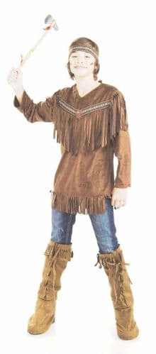 Boys Indian Brave Fancy Dress Costume (Chest To 40)
