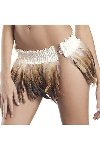 Brown and White Feather Clubwear Mini Skirt (UK 12 - 14)