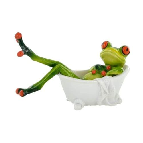 Cheeky Comical Frog Figurine Having A Relaxing  Bath