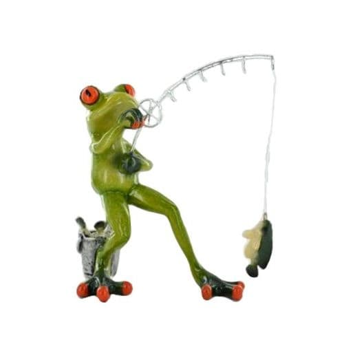 Cheeky Comical Frog Figurine Standing Fishing