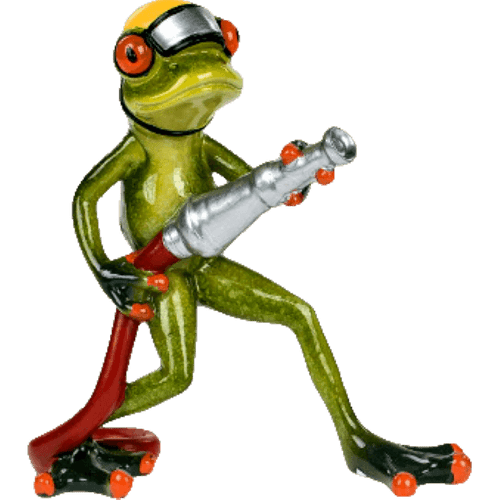 Cheeky Comical Frog Fireman with a Fire Hose