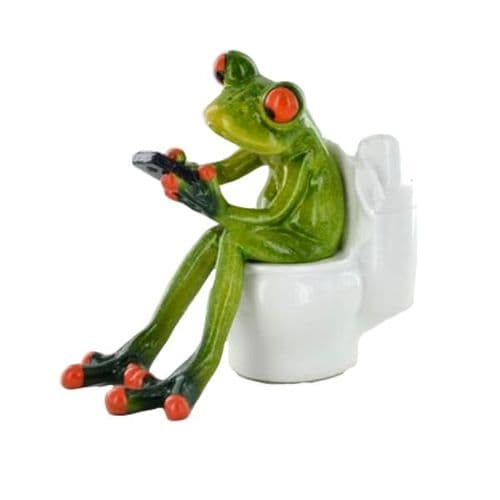 Cheeky Comical Frog Using Mobile Phone On The Toilet