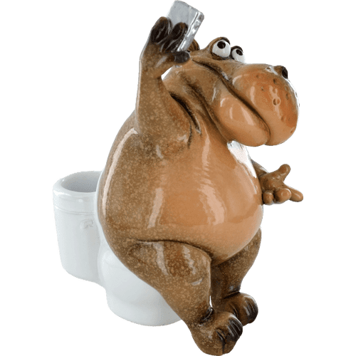 Cheeky Comical Hippo on the Toilet