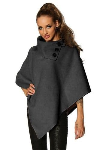 Dark Grey Winter Poncho with Wide Collar (UK 8 - 12)