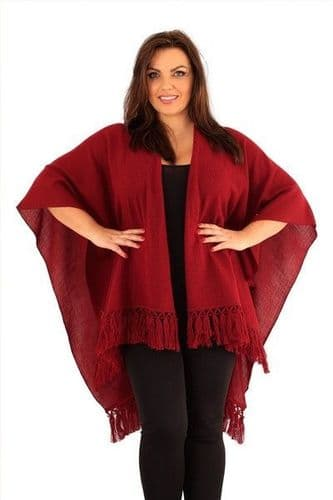 Drew Plus Size Red Knitted Cape with Fringe (UK 18-26)
