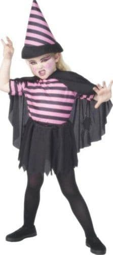 Girls Pink Striped Witch Fancy Dress Costume (Age 3 - 4)