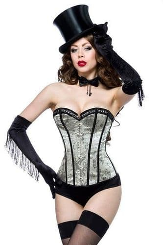 Green and Black Satin Brocade Corset (UK 20)