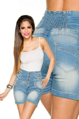 High Waisted Denim Shorts with Button Front (UK 14)