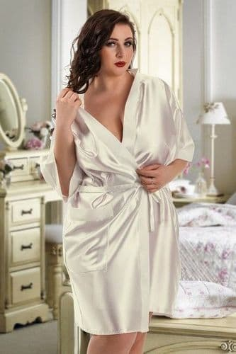 Ivory Satin Bridal Dressing Gown (UK 26 / 28)