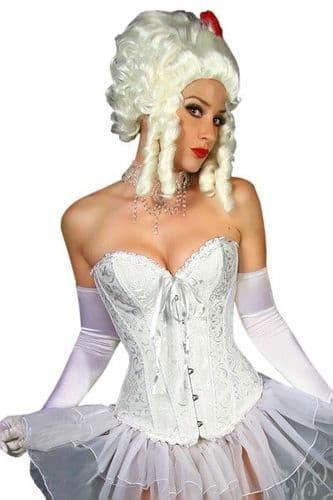 Lace Ruffle White Brocade Corset (UK 18 / 20)
