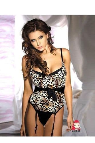 Leopard Print Basque with Suspenders and Thong (UK 8 / 10)