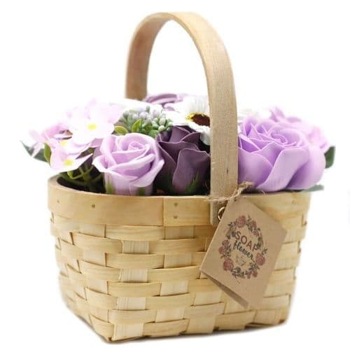 Lilac Soap Bouquet Large Wicker Basket
