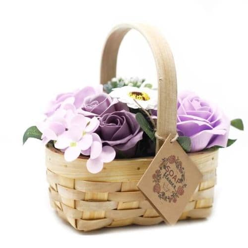 Lilac Soap Bouquet Medium Wicker Basket