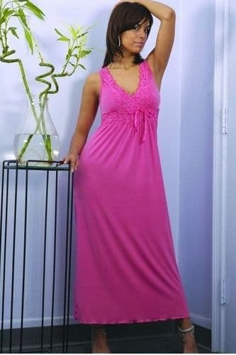 Long Coral Microfibre Plus Size Night Gown (UK 26 - 28)