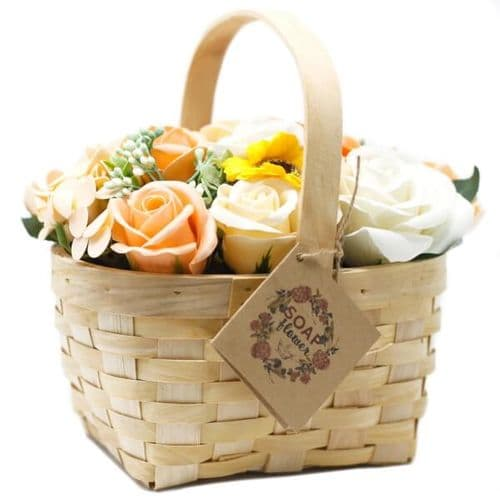 Orange Soap Bouquet Large Wicker Basket