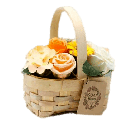 Orange Soap Bouquet Medium Wicker Basket