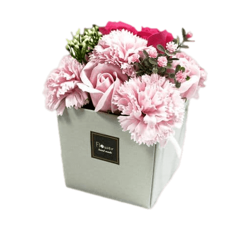 Pink Rose And Carnation Soap Flower Bouquet