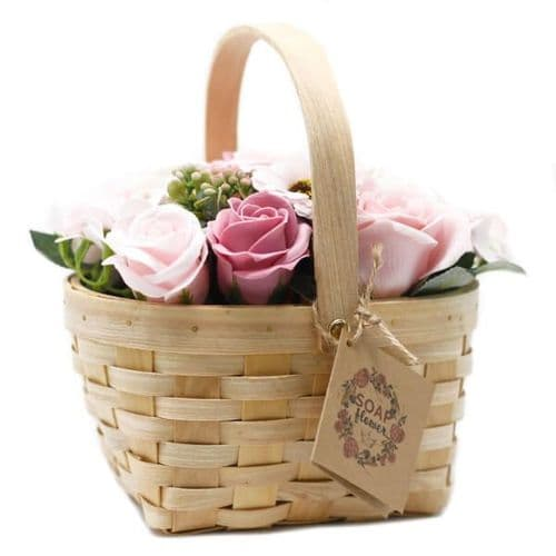 Pink Soap Bouquet Large Wicker Basket