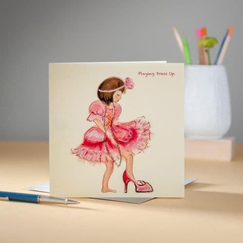 Playing Dressing Up Greeting Card by Claire Louise