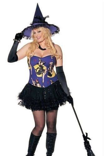 Purple Halloween Witch Fancy Dress Costume (UK 22-26)