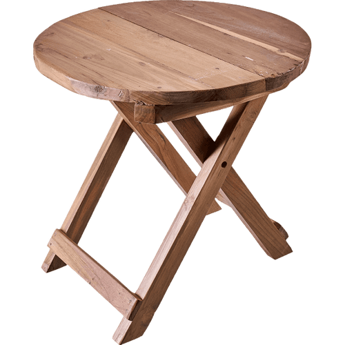 Recycled Wood 50cm Round Folding Coffee Table