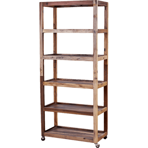 Recycled Wood Six Shelf Display with Casters