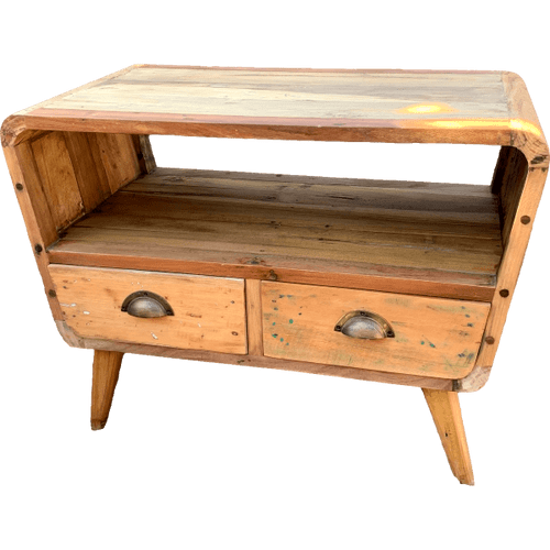 Recycled Wood Small TV Stand with 2 Draws