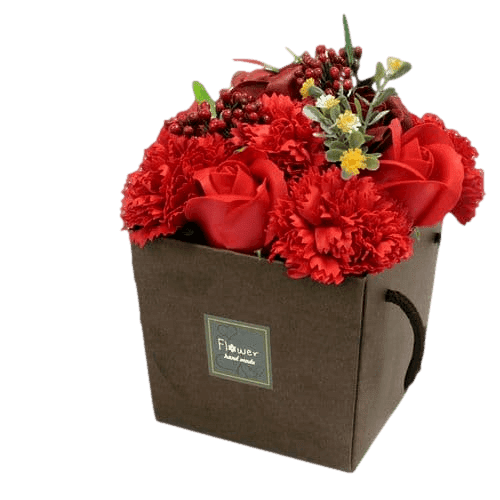 Red Rose And Carnation Soap Flower Bouquet