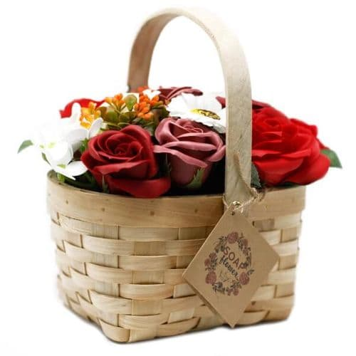 Red Soap Bouquet Large Wicker Basket