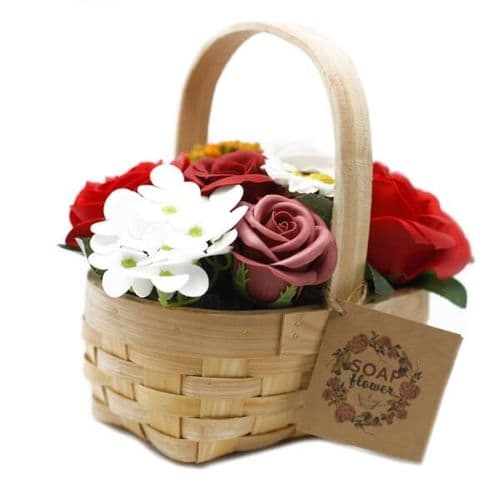 Red Soap Bouquet Medium Wicker Basket