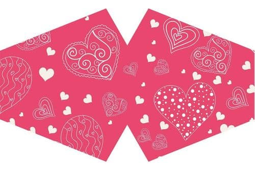 Reusable Adult Face Mask - Pink Hearts