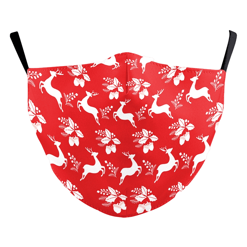 Reusable Adult Face Mask - Reindeer & Holly