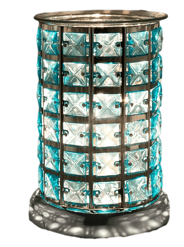 Touch Sensitive Electric Wax Melt Burner - Silver and Teal Crystal