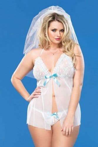 White Bridal Plus Size Babydoll And String Set (UK 14 - 22)