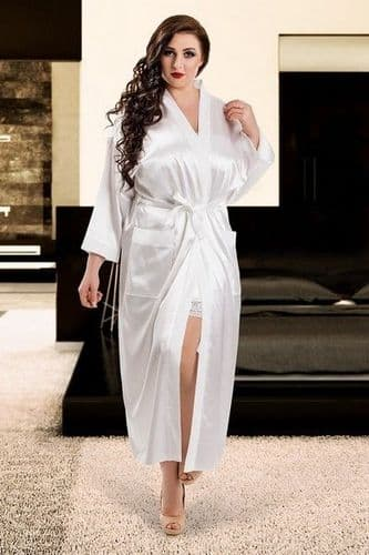 White Satin Full Length Bridal Dressing Gown (UK 16 / 18)