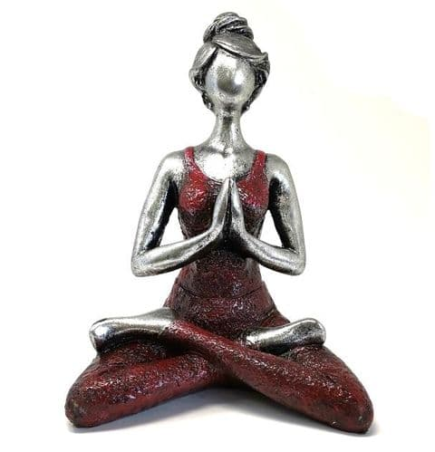Yoga Lady Lotus Position Silver & Bordeaux