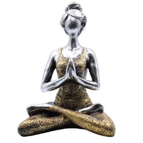 Yoga Lady Lotus Position Silver & Gold
