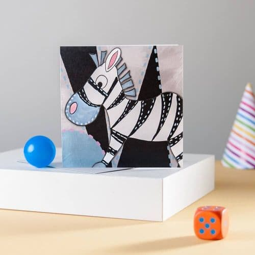Zebra Greeting Card by Claire Louise