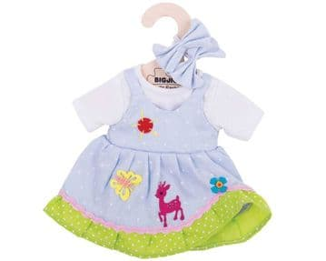 Bigjigs Medium Dolls Outfit Blue Spotted Dress With Deer