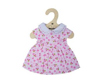 Bigjigs Medium Dolls Outfit Pink Dress With Pink Hearts