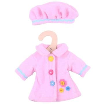 Bigjigs Small Dolls Outfit Pink Hat and Coat